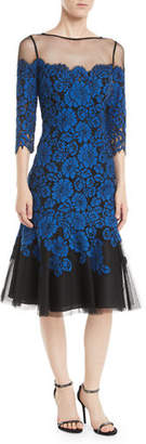 Rickie Freeman For Teri Jon Lace Illusion Dress w/ Flounce Hem