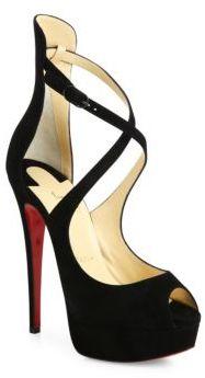 Christian Louboutin Suede Crisscross Peep-Toe Platform Sandals $1,045 thestylecure.com