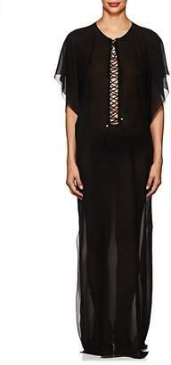 Saint Laurent Women's Lace-Up Sheer Silk Caftan