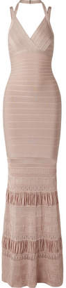 Herve Leger Textured Knit-paneled Bandage Gown - Taupe