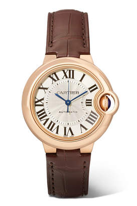 Cartier Ballon Bleu De 33mm 18-karat Pink Gold And Alligator Watch - Rose gold