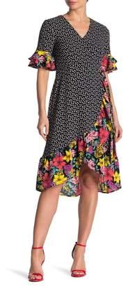 Spense Floral Mixed Print Ruffle Wrap Dress