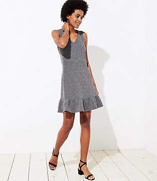 LOFT Petite Tweed Flounce Dress