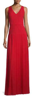 St. John Collection Silk Georgette V-Neck Gown, Paprika $1,595 thestylecure.com