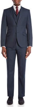 English Laundry 3-Piece Blue Nailhead Wool Suit