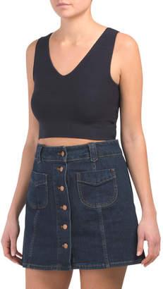 Juniors Knit Plain V-neck Vest
