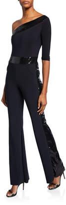 Chiara Boni Unimarge One-Shoulder Flared-Leg Jumpsuit