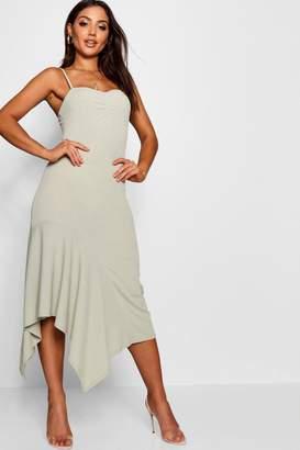boohoo Ruched Cami Asymmetric Midi Dress