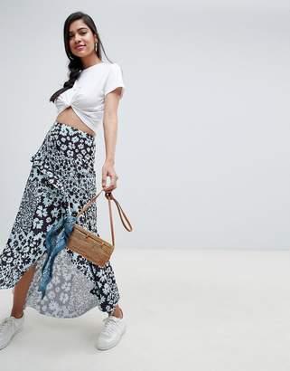 Asos Design DESIGN mixed blue floral maxi skirt with hanky hem