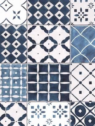 Contour Porches Blue Tile Wallpaper
