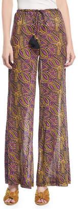 Figue Estela Wide-Leg Lala Wallpaper-Print Crepe Pants
