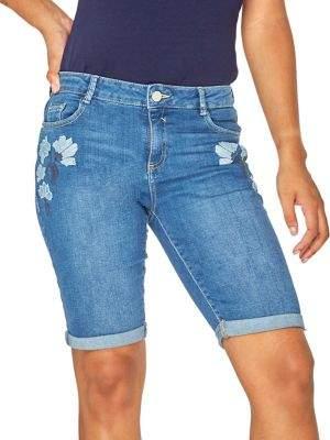 Dorothy Perkins Embroidered Denim Knee Shorts