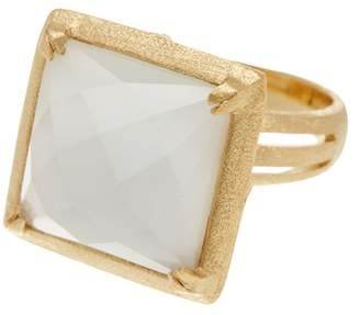 Rivka Friedman 18K Gold Clad Prong Set Square White Cat's Eye Crystal Satin Finish Bold Ring