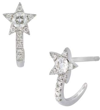 Bony Levy 18K White Gold Pave Diamond Star Huggie Hoop Earrings - 0.19 ctw