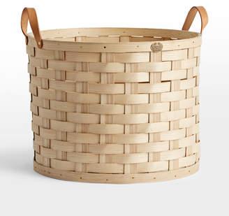 Rejuvenation Oversized Ash Wood & Leather Round Basket