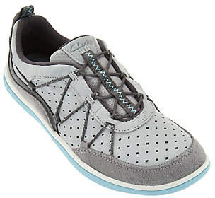 Clarks Outdoor Leather Bungee Lace-up Sneakers- Aria Flyer