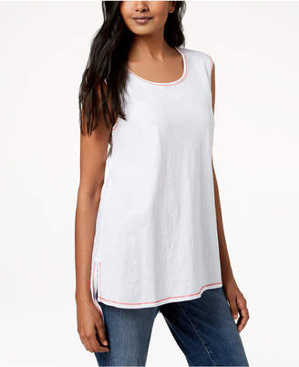 Eileen Fisher Contrast-Trim Organic Cotton Sleeveless Tunic