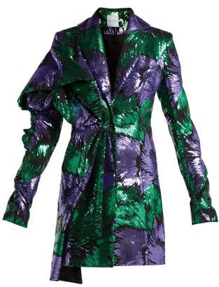 Halpern - Floral Print Sequin Embellished Dress - Womens - Green Multi