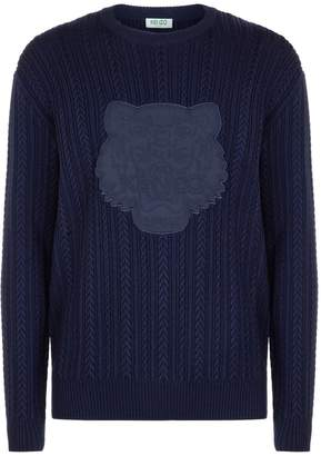 Kenzo Embossed Logo Cable Knit Sweater