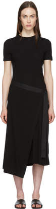 Rosetta Getty Black Apron Wrap T-Shirt Dress