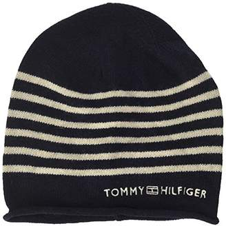 Tommy Hilfiger Women s s Tommy Stripe Beanie Blue Navy 9a1ea2f5511e