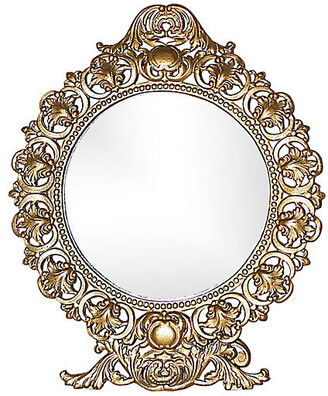 One Kings Lane Vintage Round Gilt-Metal Vanity Mirror - House of Charm Antiques