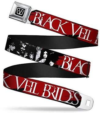 BVB Logo Full Color Black/White Seatbelt Belt - BLACK VEIL BRIDES Group Black/Red/White Webbing X-LARGE