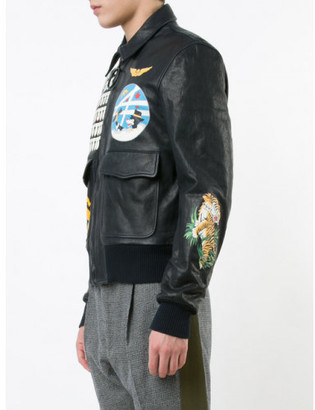 Off-White multi patched biker jacket $2,458 thestylecure.com