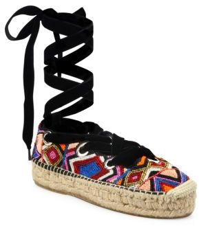 Ash Xenos Beaded Lace-Up Espadrilles $250 thestylecure.com