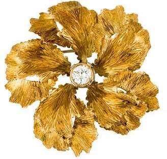 18K Diamond Flower Brooch