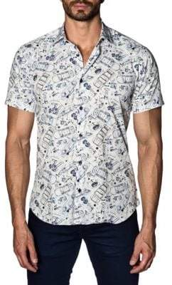 Jared Lang Car Cotton Button-Down Shirt