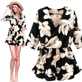 Funic Women Plus Size Floral Chiffon Playsuit Clubwear Bodycon Party Jumpsuit Romper (3XL, )