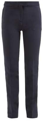 Summa - Mid Rise Cigarette Fit Twill Trousers - Womens - Navy