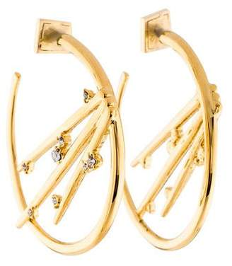 Alexis Bittar Crystal Metallic Thorn Hoop Earrings