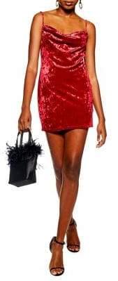 Topshop PETITE Cowl Velvet Slip Dress