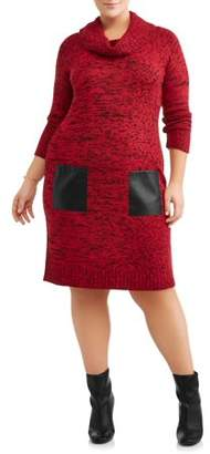 Alison Andrews Women's Plus Size Turtleneck Sweater Dress with Faux Leather Pockets