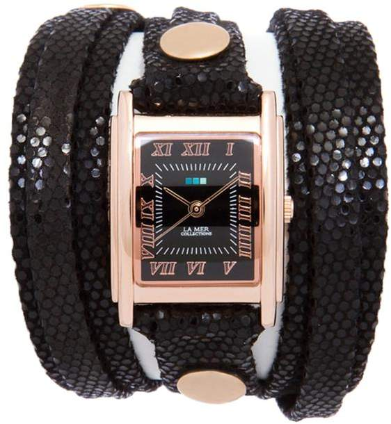 La Mer Rosetone Square Case Sequin-Embossed Leather Wrap-Design Watch