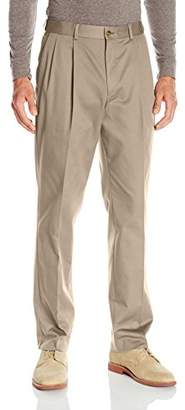 Louis Raphael S Men's Pleated Cotton Blend Pant with Comfort Waistband