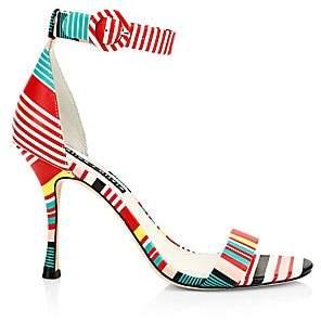 Alice + Olivia Women's Danelle Striped Leather Ankle-Strap Sandals