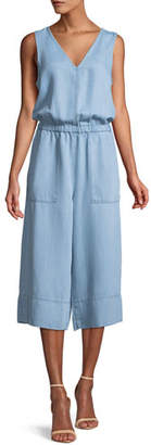 Splendid Indigo Cropped Wide-Leg Chambray Jumpsuit