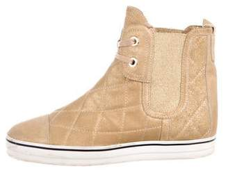 Chanel Quilted Suede Sneakers