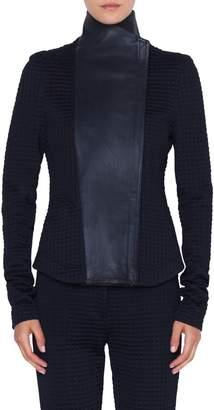 Akris Punto Leather & Jersey Biker Jacket