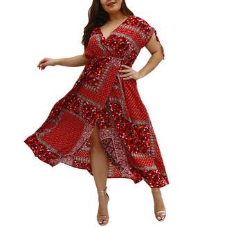 1d786cc78b Mnyycxen plus size dress Women s Wrap Maxi Dress Plus Size Split Floral  Print Flowy Party Maxi