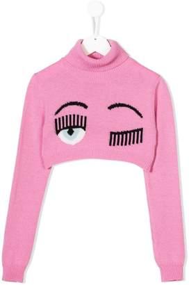 Chiara Ferragni Kids Flirting cropped jumper