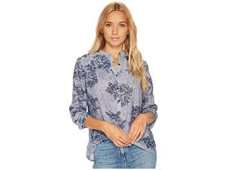 Lucky Brand Floral Chambray Top Women's Long Sleeve Pullover