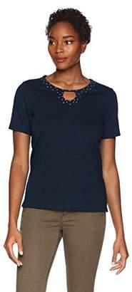 Alfred Dunner Women's Solid Beaded Horseshoe T-Shirt