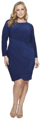 Adrianna Papell Plus Size Matte Jersey Dress with Long Sleeve and Draped Wrap Skirt Women's Dress