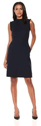 Ellen Tracy Women's Seamed Mock Neck Dress with Fringe Trim