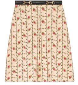 Gucci Rose print silk skirt