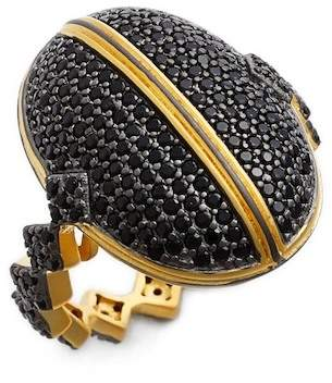 Freida Rothman 14K Gold & Black Rhodium Plated Sterling Silver Harlequin Edge Pave Dome Ring - Size 8